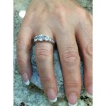 NANA Three Stone ring with Euro Shank in Sterling Silver, 10k or 14k White, Yellow or Rose Gold