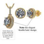 NANA Jewels Halo Earring & Necklace Set, Solid Sterling Silver w/Swarovski Zirconia - Hypoallergenic
