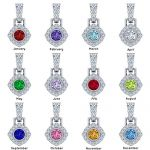 "MAMA Sterling Silver Marquise Add-a-link Birthstone Pendant with a 1mm 22"" Adjustable Box Chain"