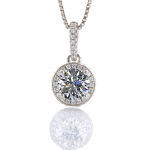 NANA Jewels Sterling Silver & CZ Birthstones Halo Pendant & Earrings Set