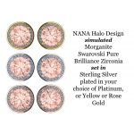 NANA Jewels Simulated Morganite Swarovski Zirconia Round Halo Earrings Sterling Silver with 14k post