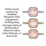 NANA Jewels 2ct Swarovski Pure Brilliance Zirconia Asscher Cut Simulated Morganite  Halo Engagement Ring Sterling