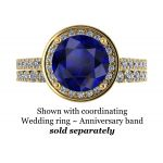 NANA Jewels 2ct Round Swarovski Simulated Sapphire Halo Engagement Ring Sterling Silver