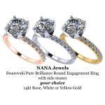 NANA 1.0-4.0ct Swarovski Zirconia Round Brilliant Cut CZ Solitaire Engagement Ring 14kt Gold