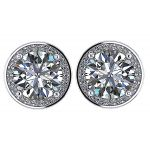 NANA Jewels Sterling Silver 7.5mm (3.50ctw) Round Cut Swarovski Zirconia Halo Earrings with a Stainless Steel Post