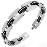 Central Diamond Center Mens Stainless Steel Bracelet Gentlemans Modern Metal Jewelry **NEW**