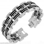 Central Diamond Center Mens Stainless Steel Bracelet Gentlemans Modern Metal Jewelry