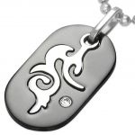 Central Diamond Center Tribal Modern Metal Dog Tag w/ Cubic Zirconia Stainless Steel Pendant w/ Chain