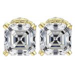NANA Jewels Sterling Silver Asscher-Cut Swarovski Zirconia Stud Earrings,(4 cttw) Hypoallergenic