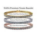 """NANA Jewels 8"""" Sterling Silver & Round Cut Swarovski CZs Tennis Bracelet in Platinum, Yellow or Rose Gold Plated"""