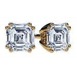 NANA Jewels Sterling Silver Asscher Cut Swarovski Zirconia Stud Earrings with a Surgical Stainless Steel Post 7mm-4ctw