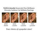 NANA Jewels Cushion-Cut Stud Earrings Swarovski Zirconia Silver & 14k Solid Gold Post 0.60cttw - 4.00ct. Weight