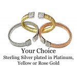 NANA Jewels Sterling Silver & CZs Bangle Bracelet in White, Yellow or Rose Gold Plated