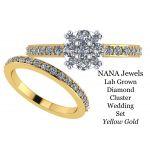 NANA Jewels Lab CVD Diamond Cluster Center Wedding Bridal Set 10kt Gold