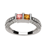 NANA Princess Cut Birthstone Couples Ring w/CZs on 3 Sides, Sterling Silver, 10K, or 14K Gold