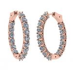 Zsa Zsa Oval Hoop Earrings Simulated Diamond-Silver Hoop Earrings Swarovski Zirconia white-yellow & rose