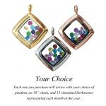 Central Diamond Center Nana Stainless Steel Mother's Locket Pendant (Jan-Dec) Yellow/White/Rose Plated with a Chain