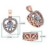 Heart Dancing Stone Necklace in Sterling Silver w/Swarovski Zirconia