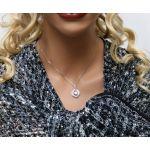 Sterling Silver Swirl Dancing Stone Necklace Pendant w/Swarovski Zirconia