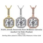 NaNa 2.0ctw Swarovski Zirconia Asscher Cut Solitaire Halo Pendant Necklace Sterling Silver with Chain