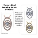 Double Oval Dancing Stone Necklace Pendant in Sterling Silver made w/Swarovski Zirconia