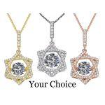 Star of David Dancing Stone Necklace in Sterling Silver made w/Swarovski Zirconia
