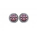 NANA 925 Sterling Silver & 14K Gold Halo Birthstone Earrings w/ Swarovski Zirconia-White, Yellow, or Rose