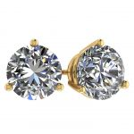 NANA Jewels Sterling Silver Round Martini style 3 Prongs Swarovski Zirconia Stud Earrings with a solid 14k gold post (1.50ctw-4.00ctw)