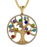 """NANA Jewels Tree of Life Mother's Pendant with a CZ Bezel 1-13 Stones w/1mm 22"""" Adj. Box Chain, in Sterling Silver, Solid 10K or 14K Gold"""
