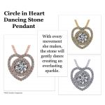 """NANA Jewels Sterling Silver & CZ Heart & Circle Dancing Diamond Pendant with a 22"""" Adjustable Box Chain"""