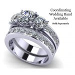 NANA Jewels 3 Stone Past Present & Future Ring made with Swarovski Zirconia 2.50ctw & 3.50ctw