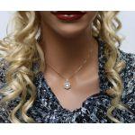 NANA Jewels Drum Dancing Stone Necklace in Sterling Silver w/Swarovski Zirconia