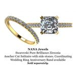 NANA Jewels Asscher Cut Cathedral Solitaire Engagement Ring 7mm (2ct) Pure Brilliance Swarovski Zirconia - Sterling Silver, 10K or 14K Gold