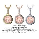 1.00ct Swarovski Zirconia Simulated Morganite Halo Necklace in Gold Plated Sterling Silver