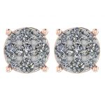 Diamond Stud Earrings 9stone Cluster 14kt Gold-Lab Created Diamonds-1 carat to 4 carat total weight look
