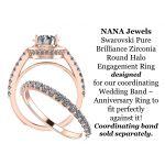 NANA Jewels Round Cut Halo Style Engagement Ring made with 8mm Pure Brilliance Swarovski Zirconia Center