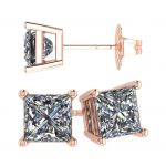 NANA Jewels Sterling Silver Princess cut Swarovski Zirconia Stud Earrings with a Solid 14k Gold Post (1.50cttw-4.0cttw)