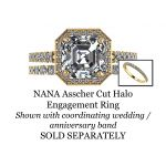 NANA Jewels Asscher Cut Halo Style Engagement Ring made with 7mm Pure Brilliance Swarovski Zirconia Center