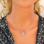Sterling Silver Circle Swirl Dancing Stone Necklace made w/Swarovski Zirconia