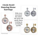 NANA Jewels Sterling Silver Circle Swirl Dancing Stone Earrings made with Swarovski Zirconia