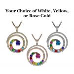 NANA Jewels Swirl Birthstone Mothers Necklace For Women w/ 1 to 9 Birthstones in Silver, 10K, or 14K Gold