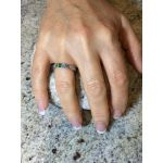 Shared Prong w/Sides Couple 2 Stone Ring w/Simulated Birthstones in Silver, 10K or 14K Gold