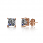CVD Lab Grown Princess Diamond Studs Earrings(G-H Color VS-SI)14K Solid Gold sturdy mounting Free Returns