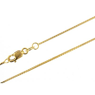 "Sterling Silver Box Chain 1.0mm Adjustable up to 22"" in White, Yellow or Rose Gold Plated"