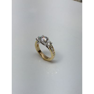 NANA Three Stone Engagement Anniversary Ring Lucita Style in Sterling Silver, 10k or 14k White, Yellow or Rose Gold
