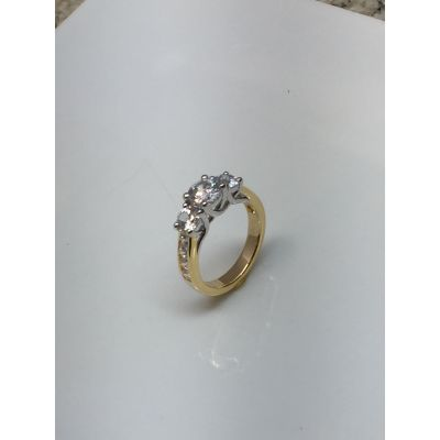 NANA Three stone ring Lucita Style with a regular shank in Sterling Silver, 10k or 14k White/Yellow/Rose