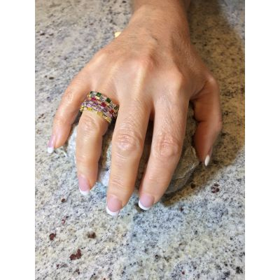 MAMA Sterling Silver Princess Stackable Birthstone Ring in Platinum, Yellow or Rose Gold Plated