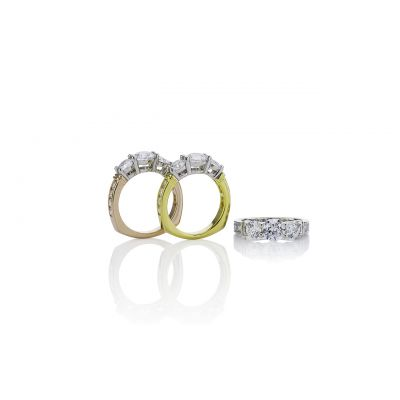 NANA Three Stone Engagement Anniversary Ring with Euro Shank in Sterling Silver, 10k or 14k, White, Yellow or Rose Gold (Straight Bar Style)