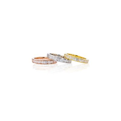 NANA Anniversary Band with Euro Shank in Sterling Silver, 10k or 14k White, Yellow or Rose Gold