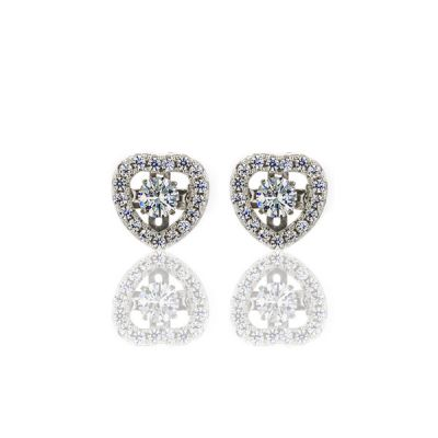 "NANA Sterling Silver & CZ Heart shaped ""Dancing Diamond"" Earrings"